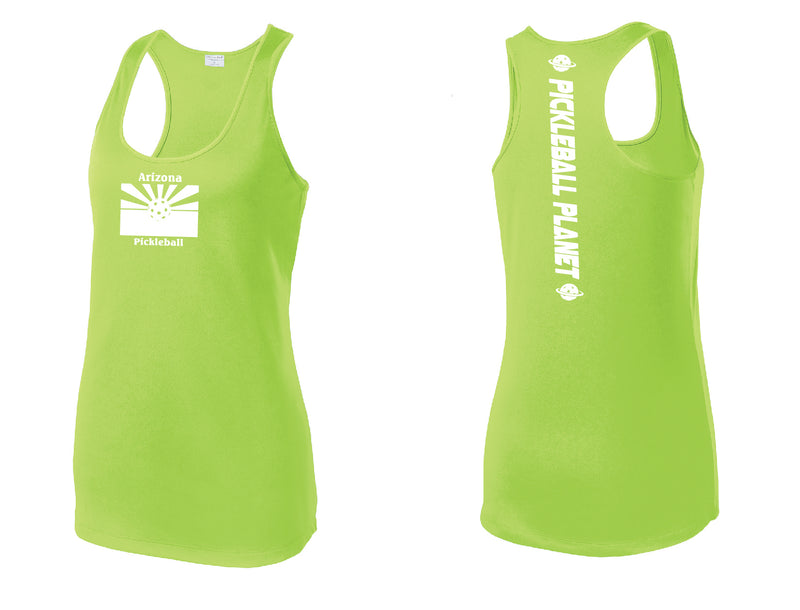 Ladies Racerback Tank Lime Shock Green Arizona Flag