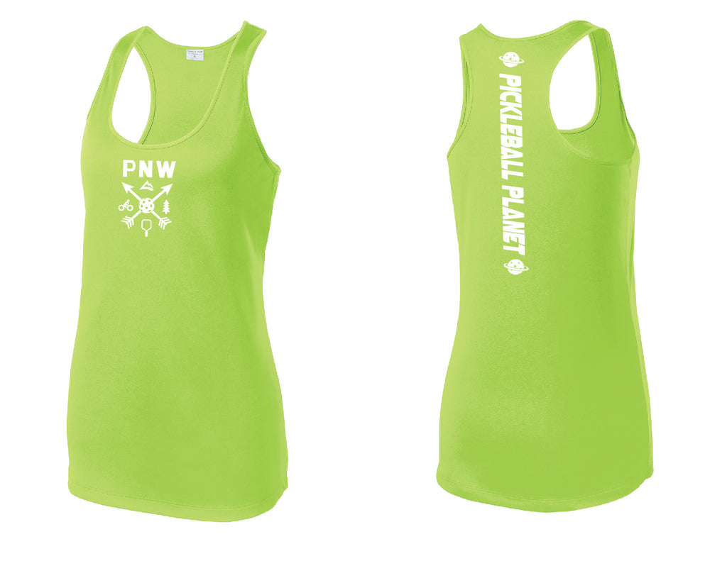 Ladies Racerback Tank Lime Shock Green PNW