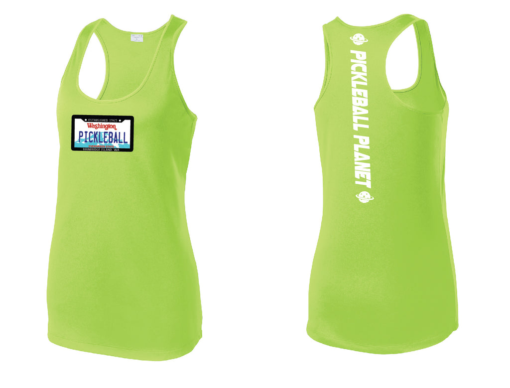 Ladies Racerback Tank Lime Shock Green Washington Plate