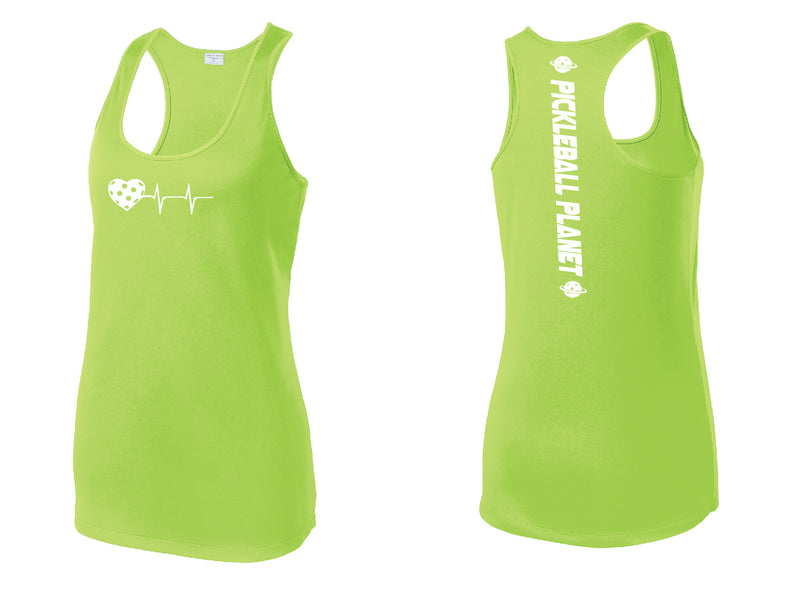 Ladies Racerback Tank Lime Shock Green Heartbeat