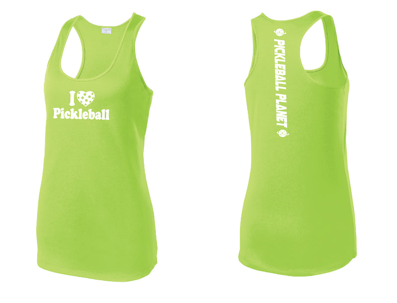Ladies Racerback Tank Lime Shock Green I Love Pickleball