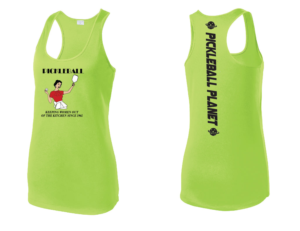 Ladies Racerback Tank Lime Shock Green Kitchen
