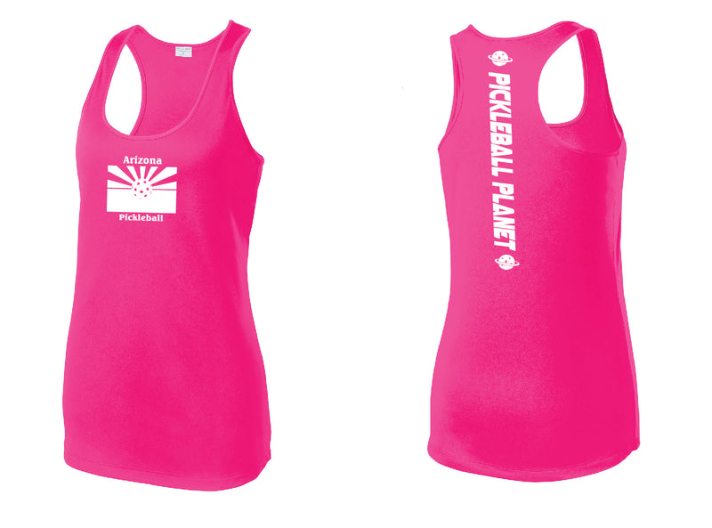 Ladies Racerback Tank Neon Pink Arizona Flag
