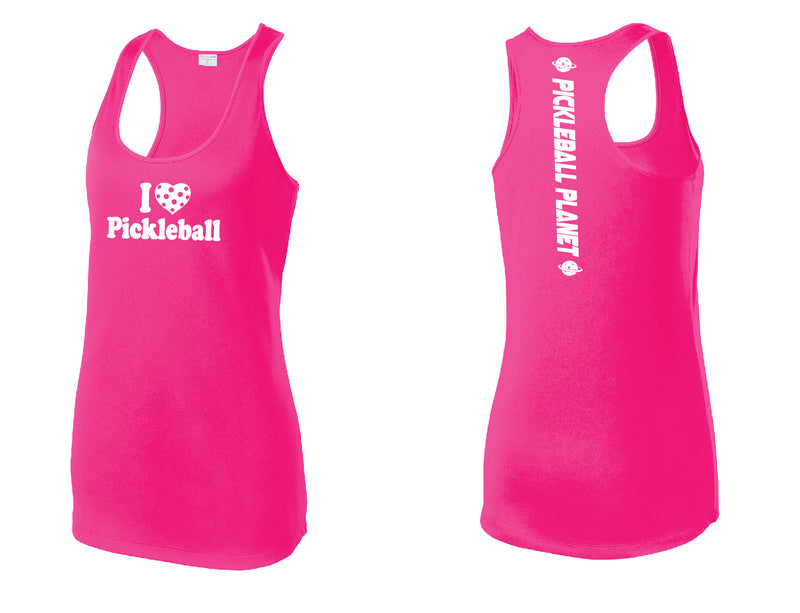 Ladies Racerback Tank Neon Pink I Love Pickleball