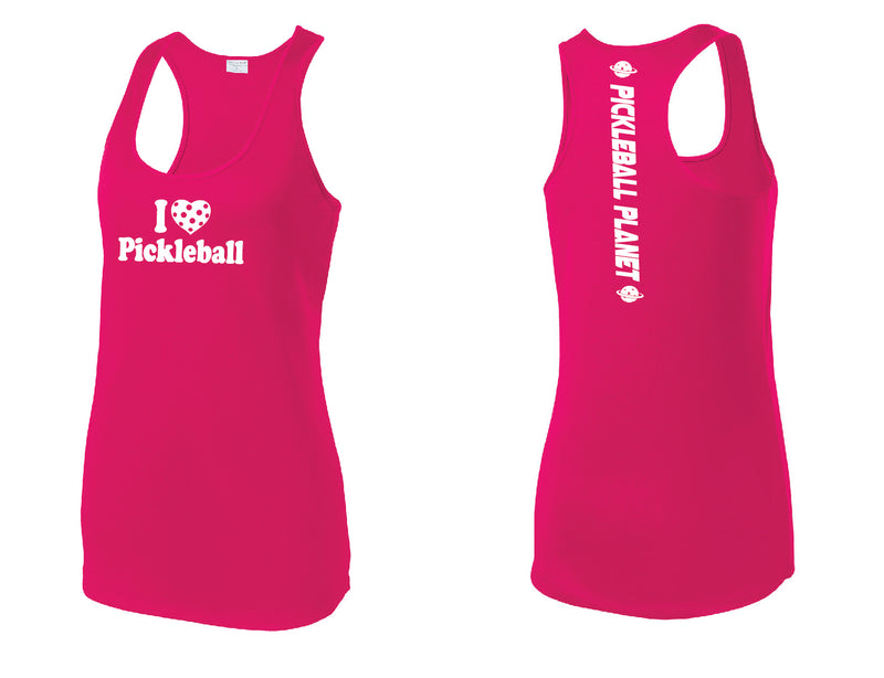 Ladies Racerback Tank Pink Raspberry I Love Pickleball