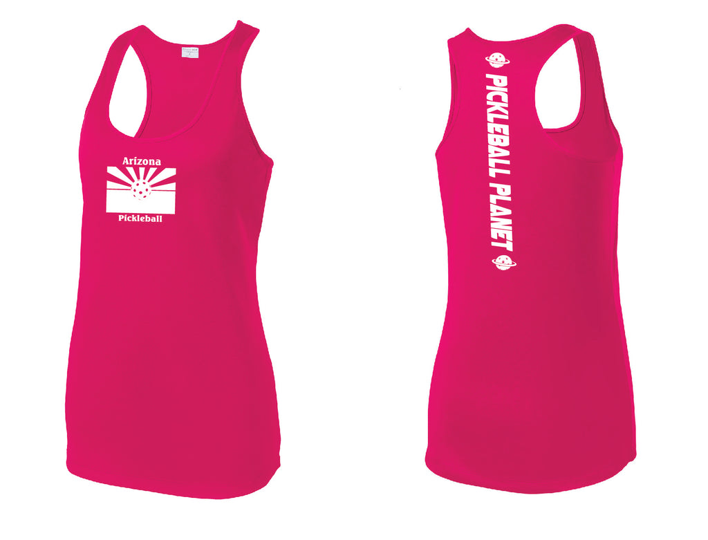 Ladies Racerback Tank Pink Raspberry Arizona Flag