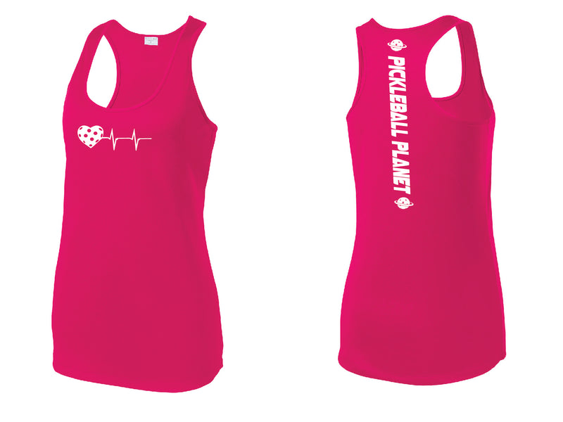 Ladies Racerback Tank Pink Raspberry Heartbeat