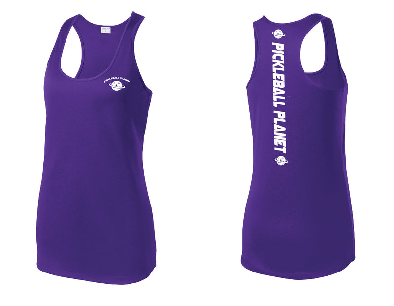 Ladies Racerback Tank Purple Pickleball Planet