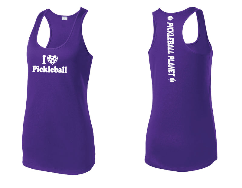 Ladies Racerback Tank Purple I Love Pickleball