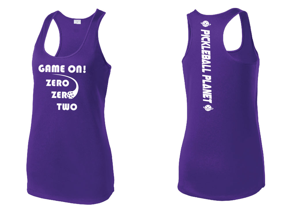 Ladies Racerback Tank Purple Game On