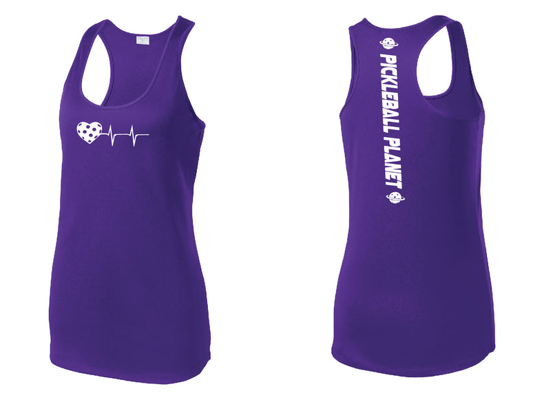 Ladies Racerback Tank Purple Heartbeat