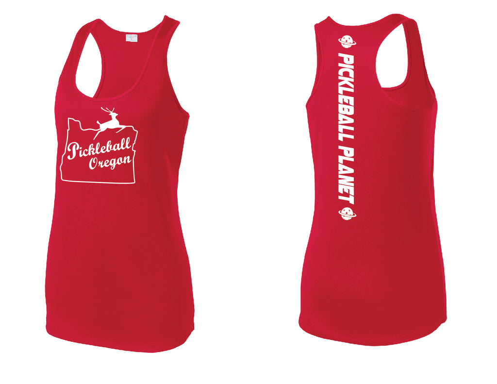 Ladies Racerback Tank Red Pickleball Oregon