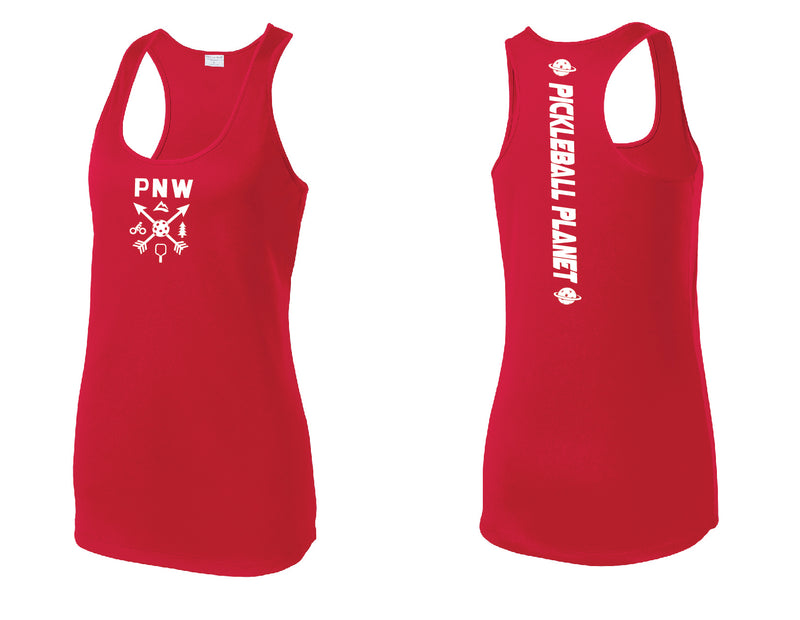 Ladies Racerback Tank Red PNW