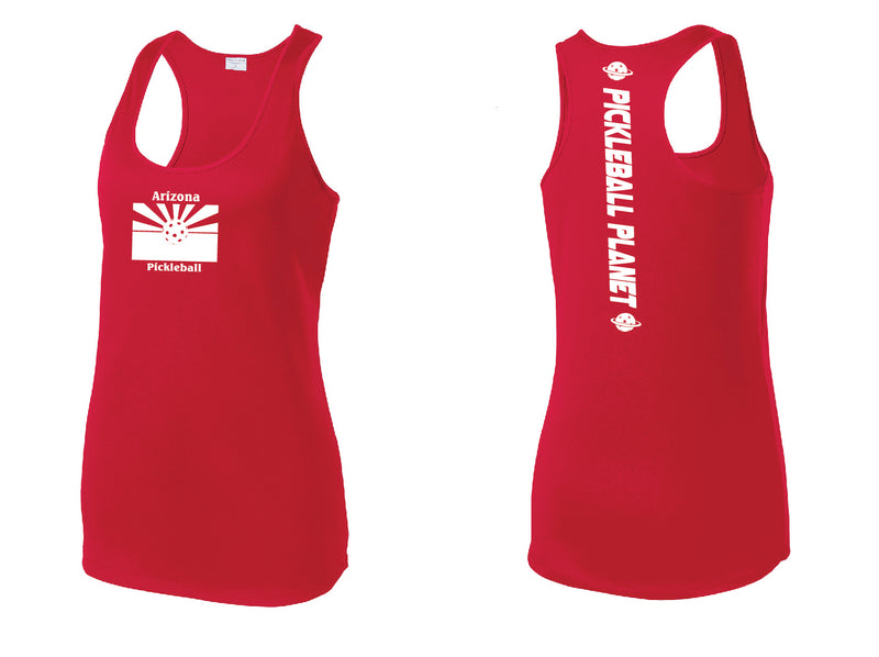 Ladies Racerback Tank Red Arizona Flag