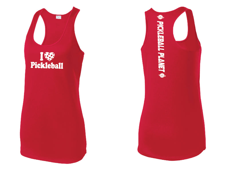 Ladies Racerback Tank Red I Love Pickleball