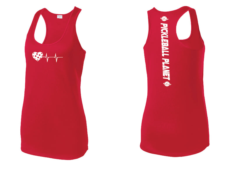 Ladies Racerback Tank Red Heartbeat