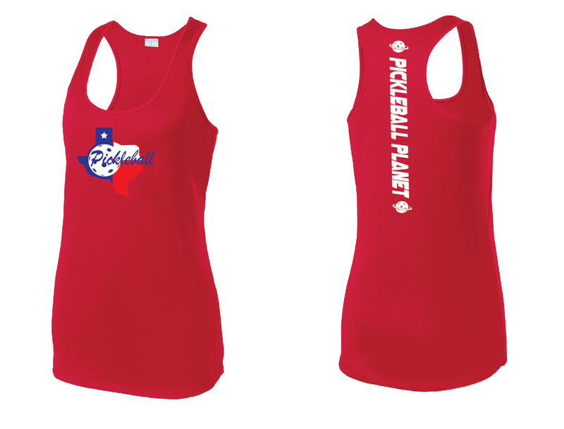 Ladies Racerback Tank Red Texas State