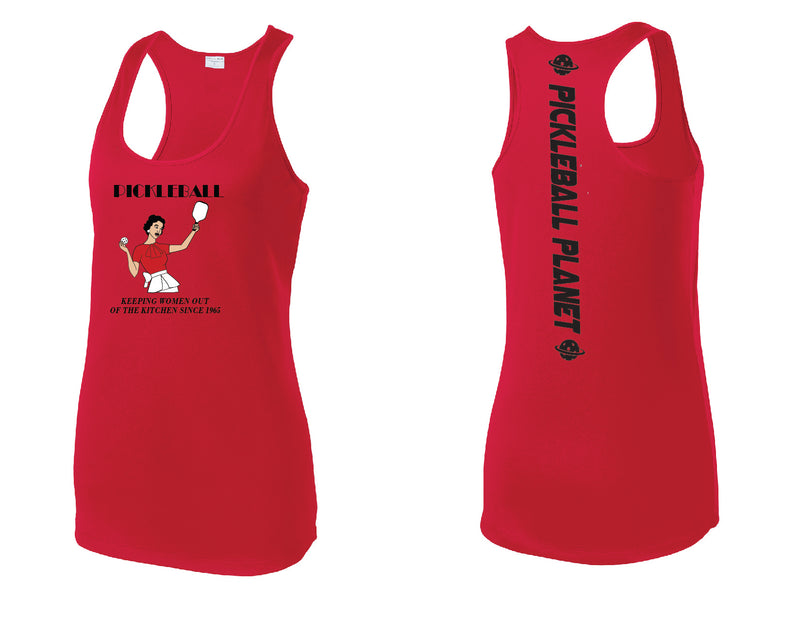 Ladies Racerback Tank Red Kitchen