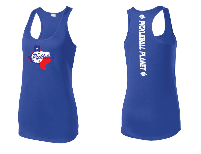 Ladies Racerback Tank Royal Blue Texas State