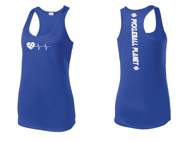 Ladies Racerback Tank Royal Blue Heartbeat