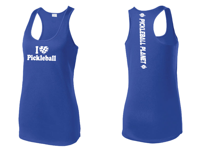 Ladies Racerback Tank Royal Blue I Love Pickleball