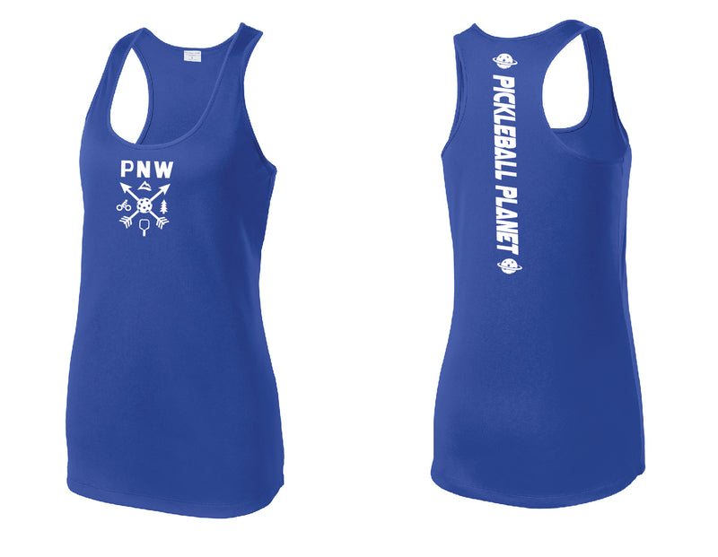 Ladies Racerback Tank Royal Blue PNW