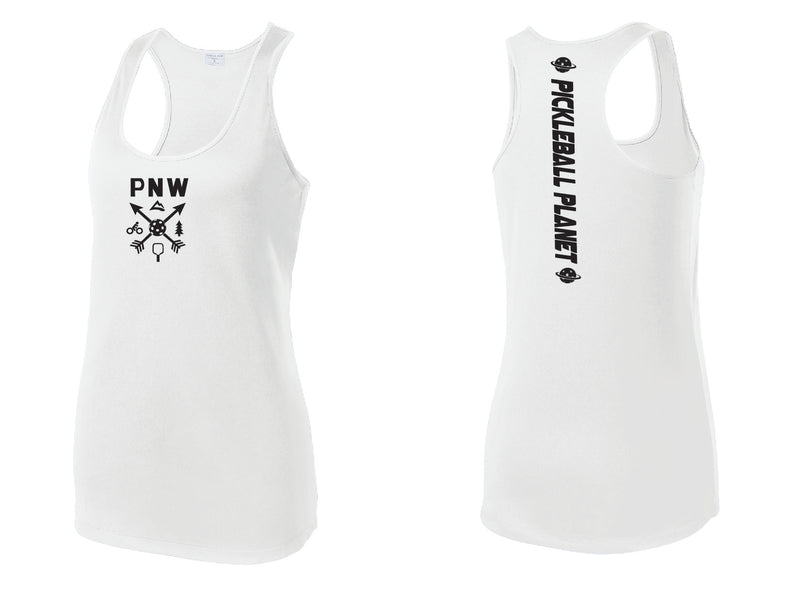 Ladies Racerback Tank White PNW