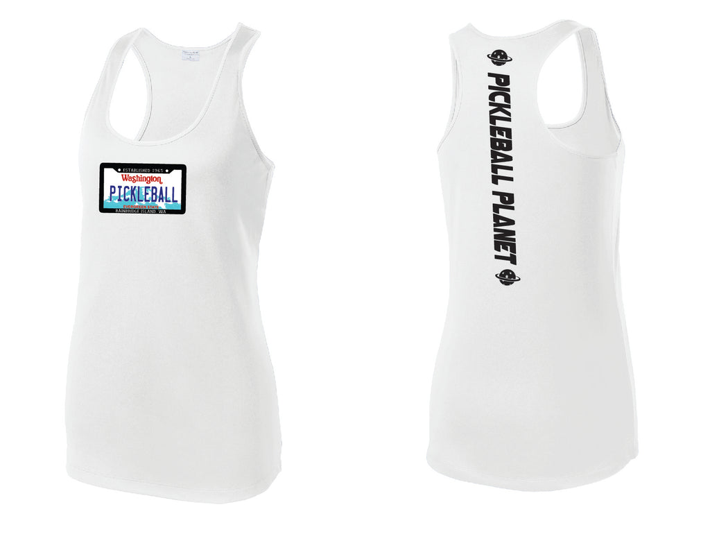 Ladies Racerback Tank White Washington Plate