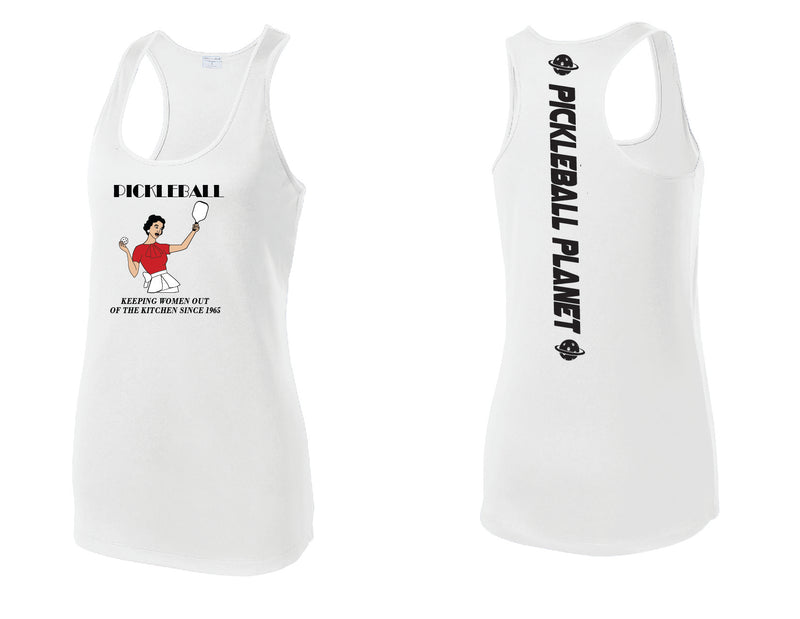 Ladies Racerback Tank White Kitchen