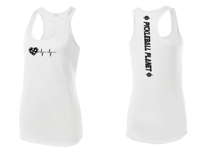 Ladies Racerback Tank White Heartbeat