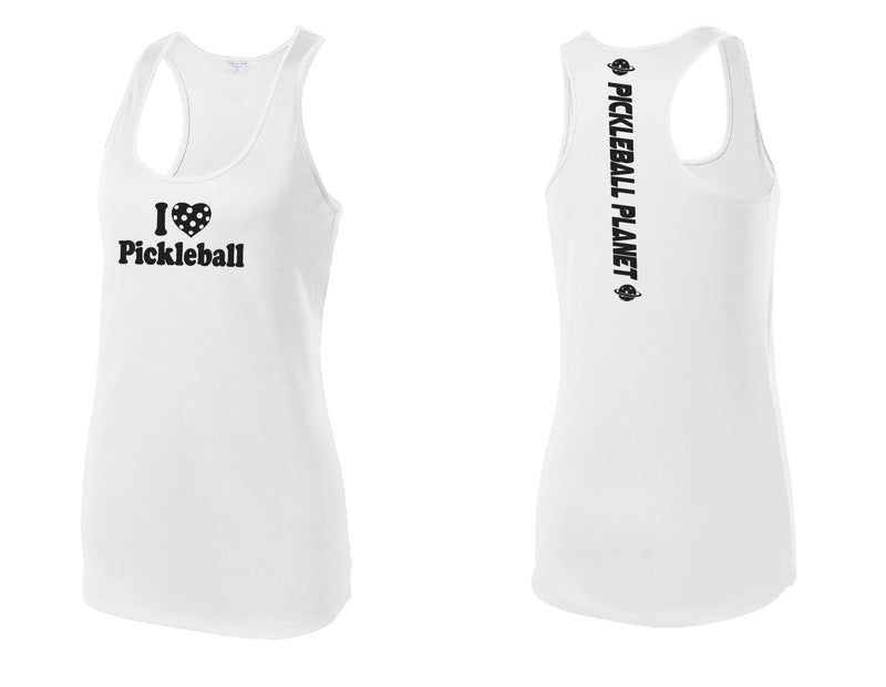 Ladies Racerback Tank White I Love Pickleball
