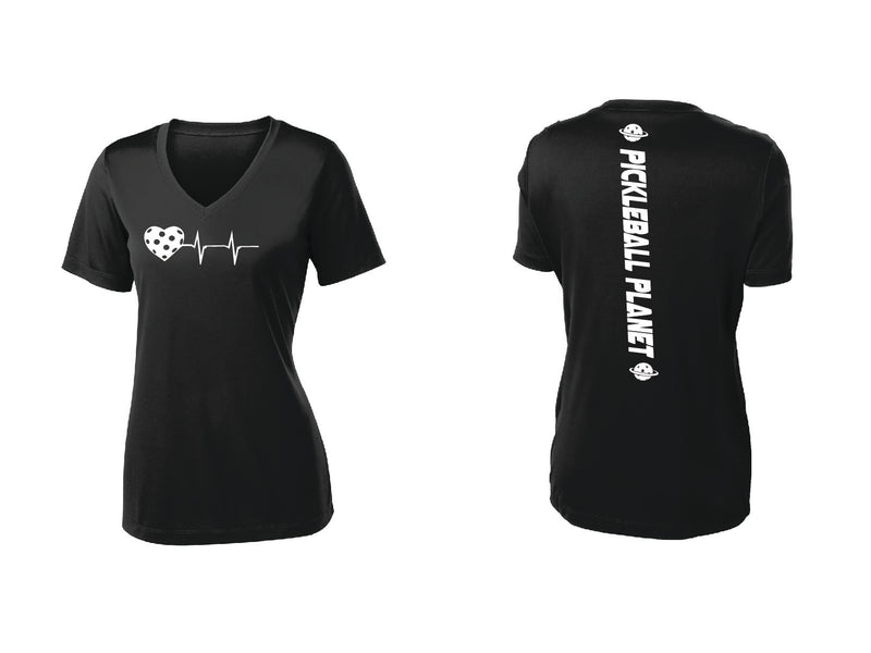Ladies Short Sleeve V-Neck Black Heartbeat