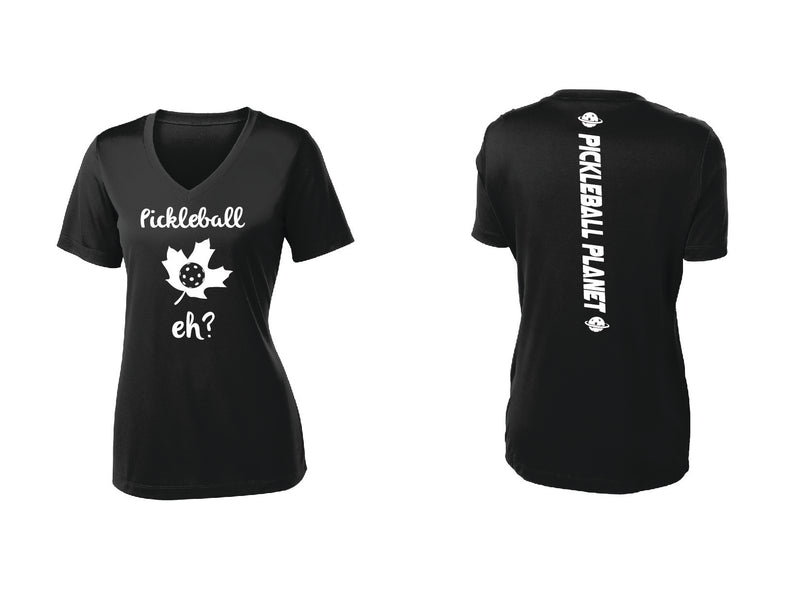 Ladies Short Sleeve V Neck Black Pickleball Eh