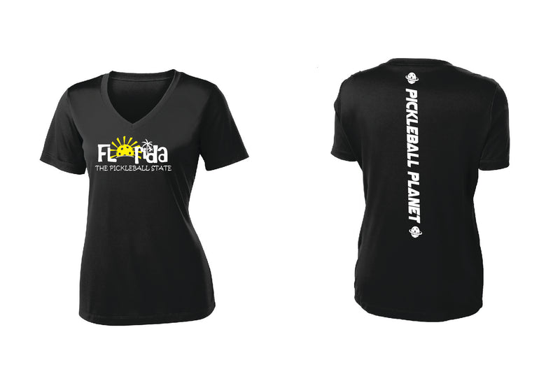 Ladies Short Sleeve Black V Neck Florida