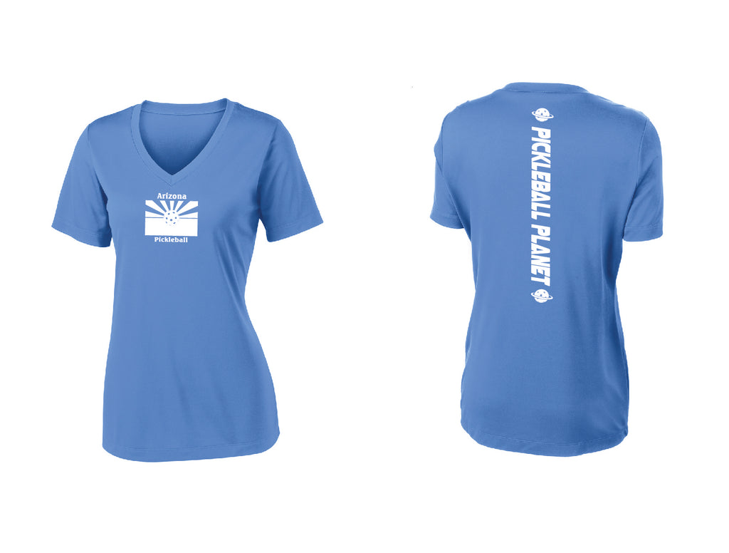 Ladies Short Sleeve V Neck Carolina Blue Arizona Flag