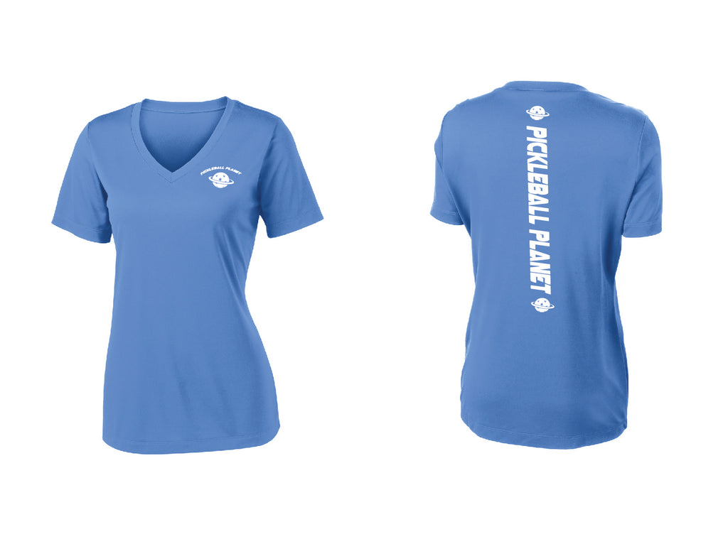 Ladies Short Sleeve V Neck Carolina Blue Pickleball Planet