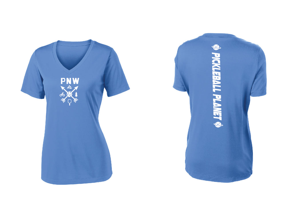 Ladies Short Sleeve V Neck Carolina Blue PNW