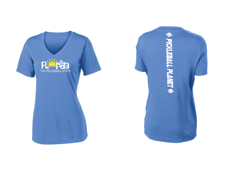 Ladies Short Sleeve V Neck Carolina Blue Florida