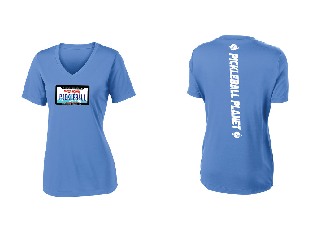 Ladies Short Sleeve V Neck Carolina Blue Washington Plate