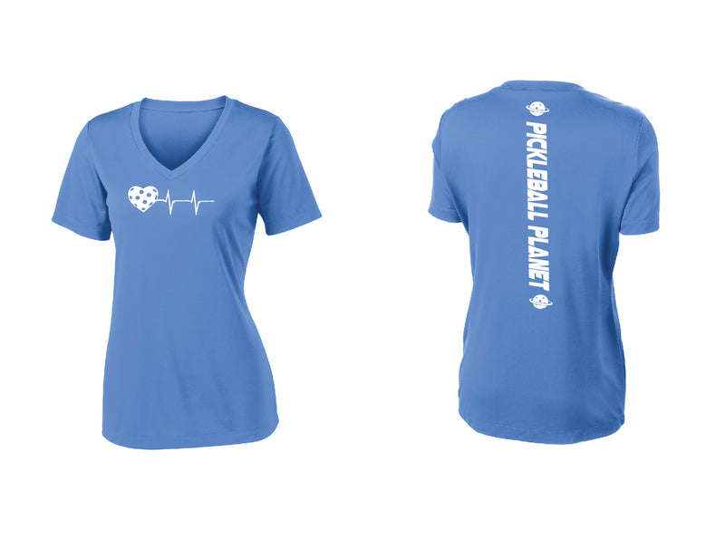 Ladies Short Sleeve V Neck Carolina Blue Heartbeat