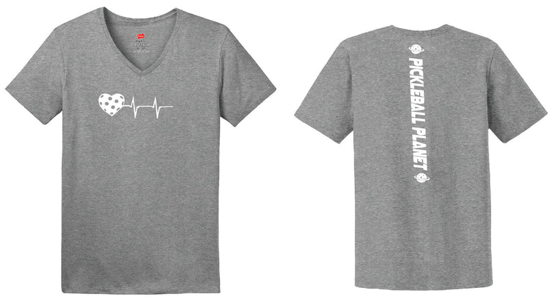 Ladies Short Sleeve Cotton Gray Heartbeat