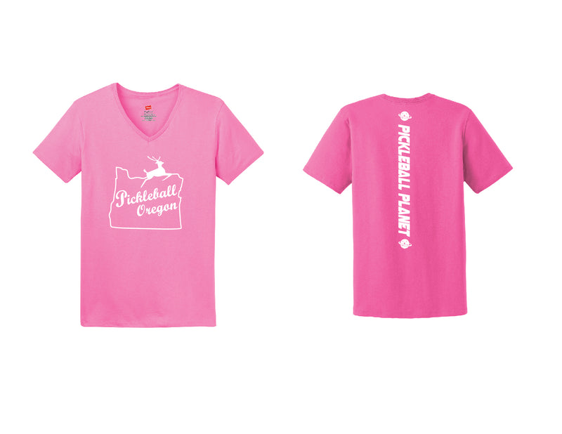 Ladies Short Sleeve Cotton Pink Pickleball Oregon