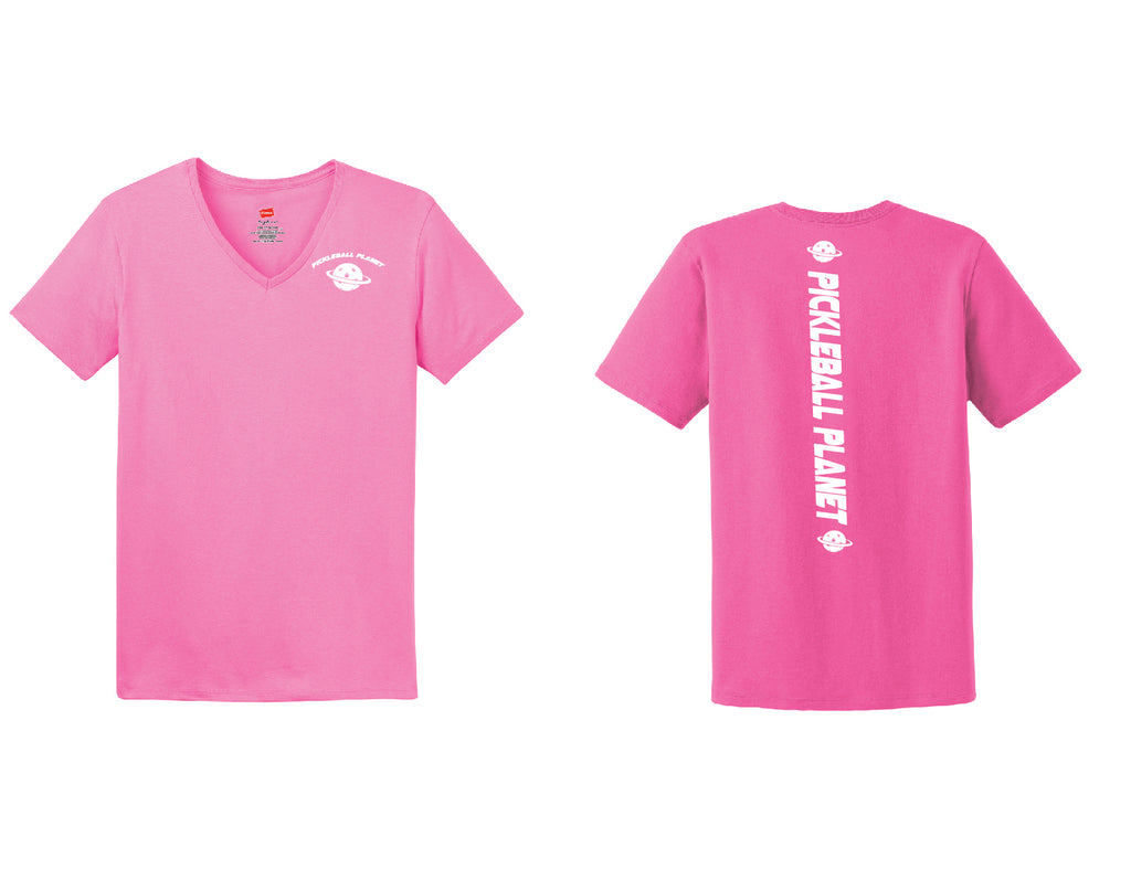 Ladies Short Sleeve Cotton Pink Pickleball Planet