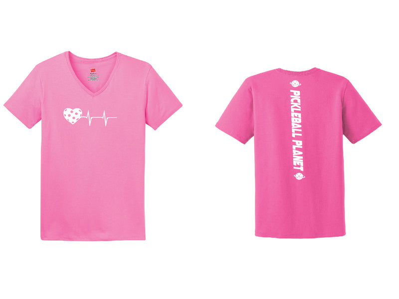 Ladies Short Sleeve Cotton Pink Heartbeat