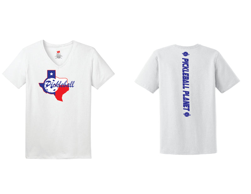 Ladies Short Sleeve Cotton White Texas State