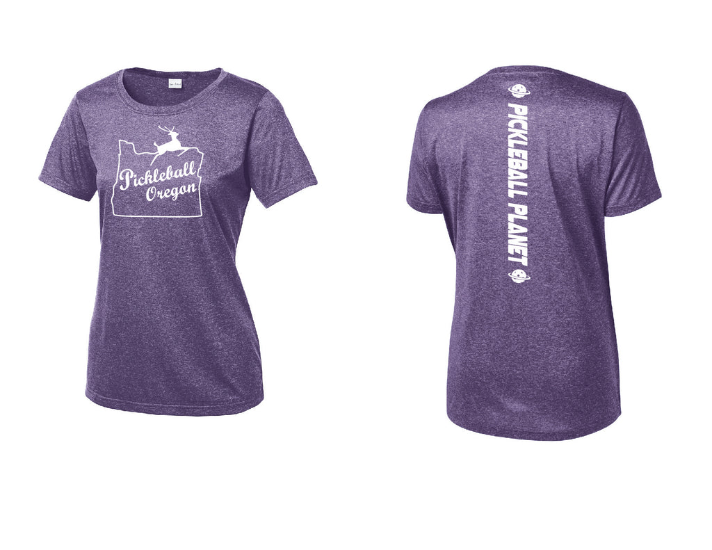 Ladies Short Sleeve Scoop Neck Heather Purple Pickleball Oregon