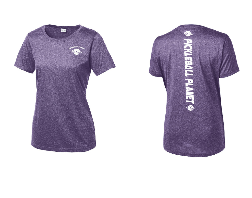 Ladies Short Sleeve Heather Purple Scoop Neck Pickleball Planet