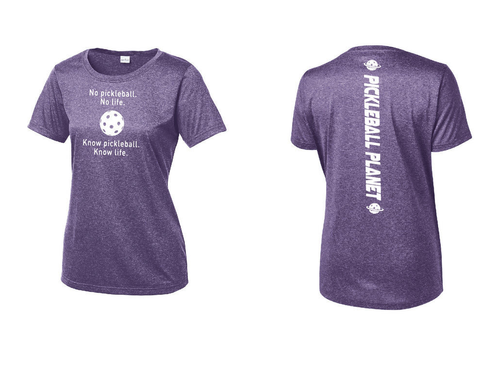 Ladies Short Sleeve Scoop Neck Heather Purple Know Pickleball