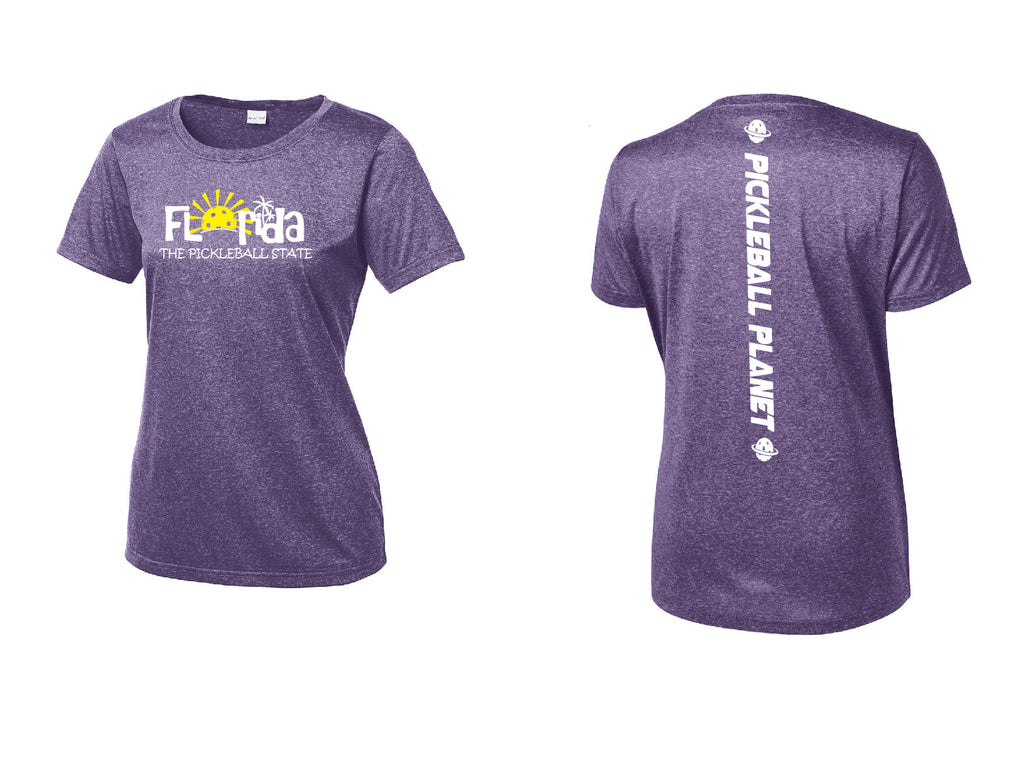 Ladies Short Sleeve Scoop Neck Heather Purple Florida