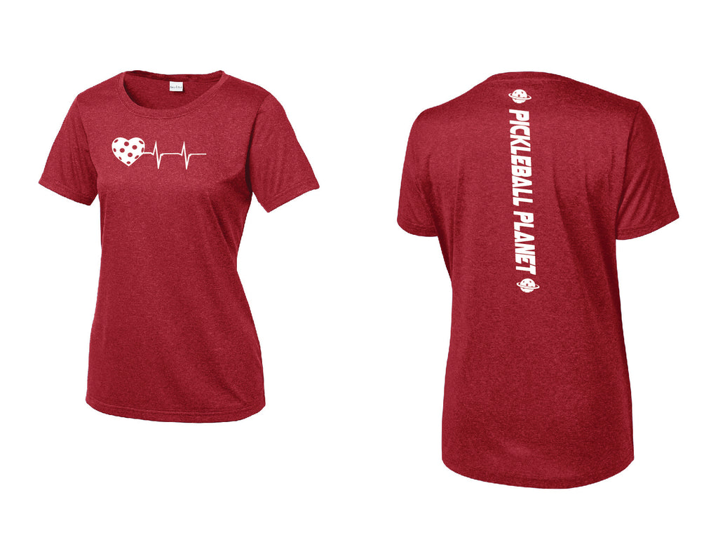Ladies Short Sleeve Scoop Neck Heather Red Heartbeat